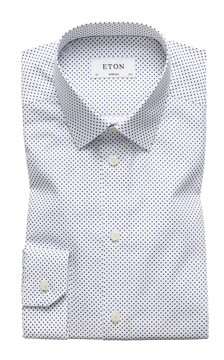 vit skjorta med blå små prickar super slim fit 4aa95bc058689