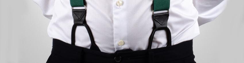 Knapphängslen med läderstroppar man fäster i insidan av byxorna.