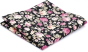 Hanky Cotton Collection Black Flowers