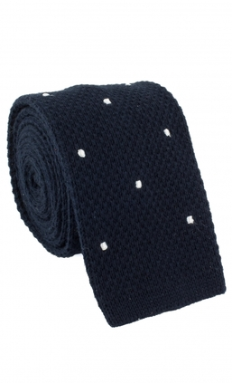 Knitted Dots Navy/White