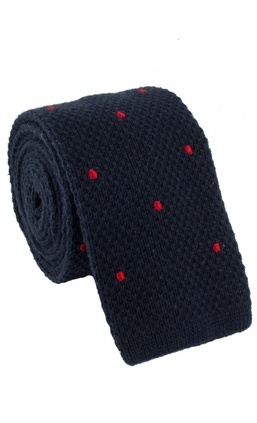 Knitted Dots Navy/Red