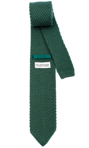 Stickad Ullslips - Pine Green