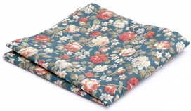 Hanky Cotton Collection Teal Flowers