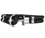 Phrep Leather Bracelet Black - Silver