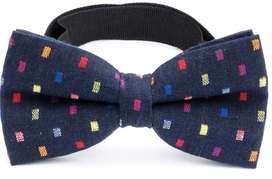 Bow Tie Cotton Collection Navy Multicolor Dots