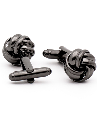 Manschettknapp Twisted Ball Black