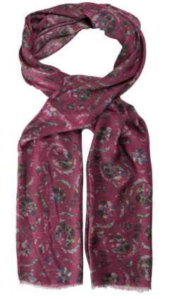 Floral Stole Printed Scarf | Merlot