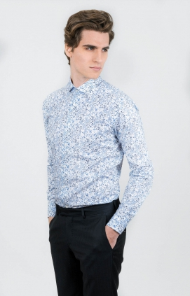 Skjorta | Flowers White | Slim Fit