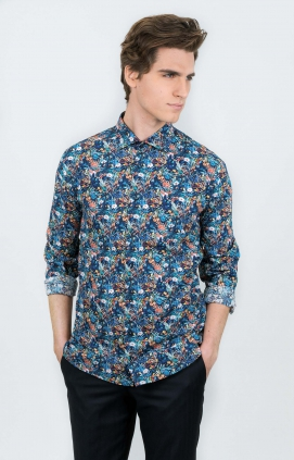 Skjorta | Flowers Navy | Slim Fit