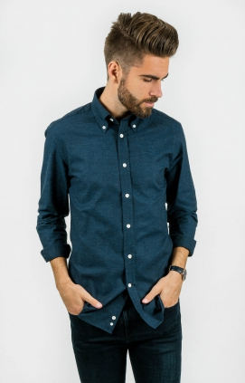 Marinblå Skjorta | Button Down | Slim Fit